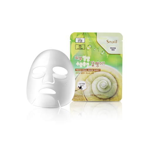 3W Clinic Тканевая маска для лица с муцином улитки Fresh Snail Mask Sheet
