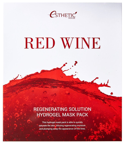 Esthetic House Набор/Гидрогелевая маска для лица RED WINE REGENERATING SOLUTION HYDROGEL MASK PACK, 5 шт